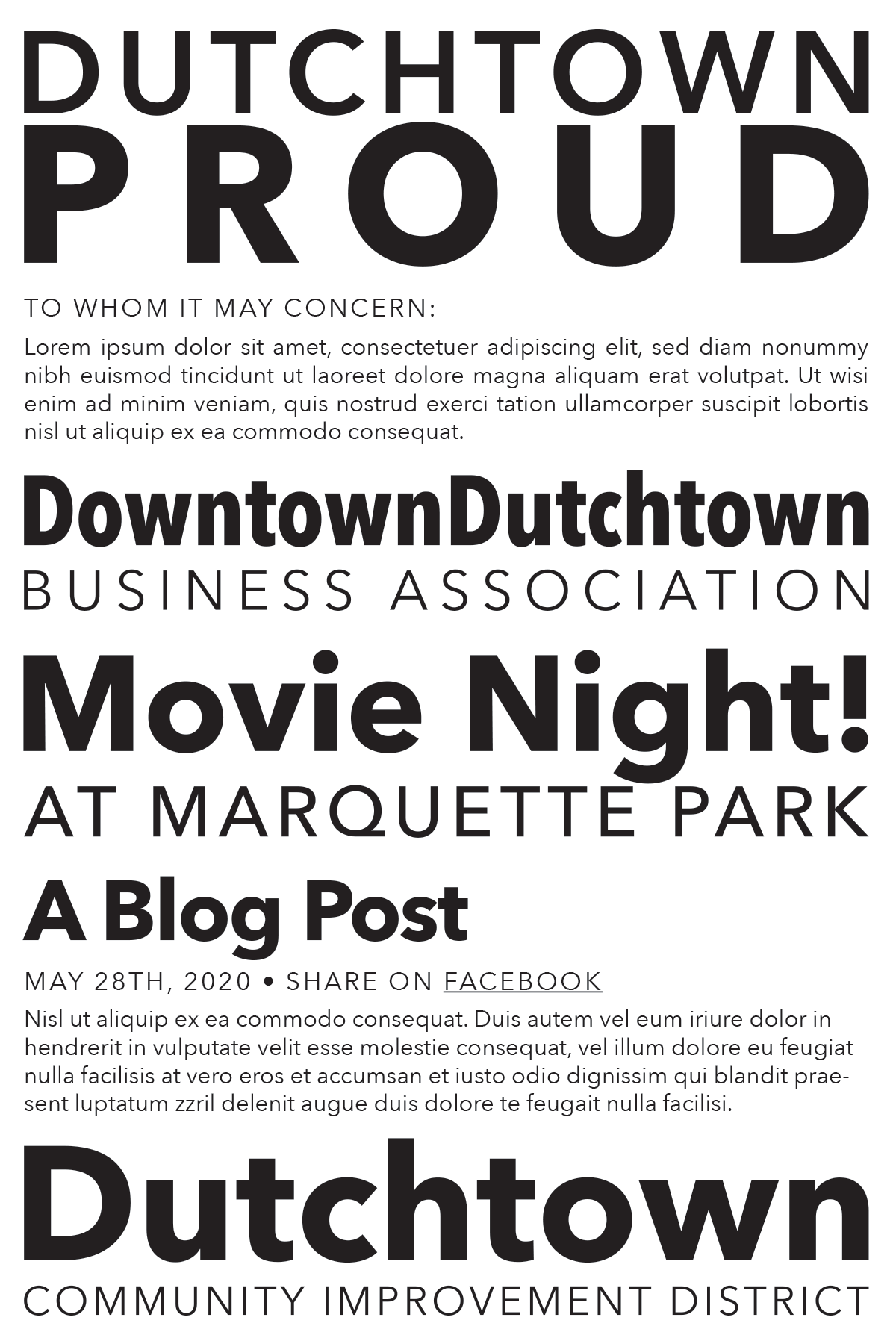 Type sample of fonts used in Dutchtown branding.